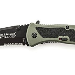Smith & Wesson Specls Large Special Ops Knife With Magic Assist Open, Serrated Black Tanto Blade And Green Handle