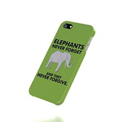 Apple Iphone 5 / 5S Case - The Best 3D Full Wrap Iphone Case - Funny Knives Elephants Simple Background Green
