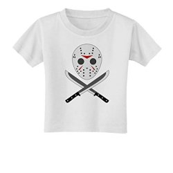 Scary Mask With Machete - Halloween Toddler T-Shirt - White - 4T