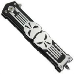 Punisher Glass Breaker Spring Assisted Knife Black