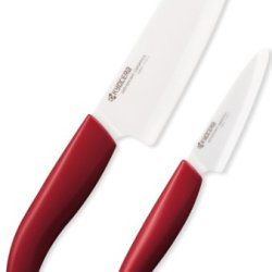 Kyocera 2-Piece Cutlery Gift Set, 5.5-Inch Santoku And 3-Inch Paring Knife, Red