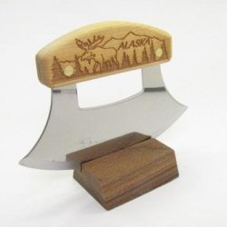 Inupiat Birch Alaska Cutlery Ulu Knife Moose In The Trees