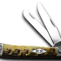 Case Xx Antique Elk Walking Scrolled Trapper 1/100 Pocket Knife Knives