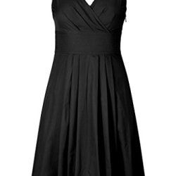 Eshakti Women'S Trapunto Trim Cotton Poplin Dress L-12 Regular Black