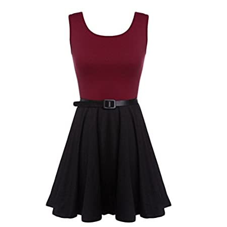 Material: Cotton Blend Color: Wine Red + Black Sleeve: Sleeveless Dress Length: Above Knee Pattern: Solid Color Style: Splicing Color Garment Care: Hand-wash and Dry Clean Unique style, create a illusion for stunning curves / Unique sty...