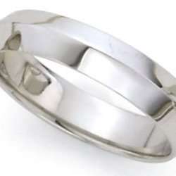 Medium-Weight Knife Edge Wedding Band In 18K White Gold (5Mm)