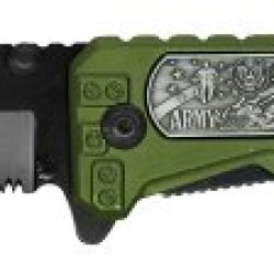 """4"""" Folding Pocket Army Hero Knife - Green - 440 Stainless Steel Blade With Serrated Edge"""