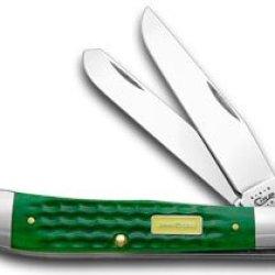 Case Xx John Deere Green Jigged Bone Trapper Pocket Knife Knives