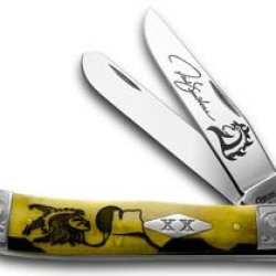 Case Xx David Yellowhorse Early Morning Singer Antique Bone Trapper 1/500 Pocket Knife Knives