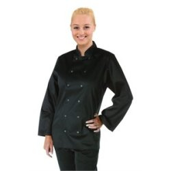 "Long Sleeve Black Chef Coat Polycotton. Size: L (To Fit Chest 44 - 46"")"