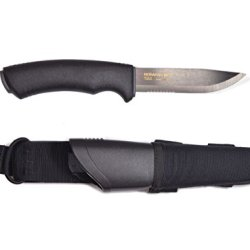 Morakniv Bushcraft Black Serrated Knife With 0.125/4.3-Inch Serrated Sandvik Stainless Steel Blade And Molle-Compatible Sheath