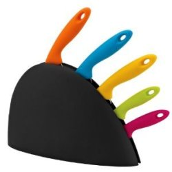6 Pc Multi Color Soft Grip Stainless Steel Knife Set With Block
