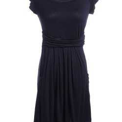 Anna-Kaci S/M Fit Black The Wear Anywhere Ruched Cummerbund Knife Pleat Dress