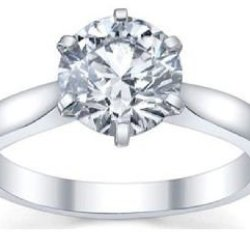Holiday Gifts Classic Sterling Silver Solitaire Engagement Ring 1 Ct Cubic Zirconium Diamond White Cz Stone. 6 Prong Setting. Knife Edge Shank. Low Setting. Gift Box Included. (7)