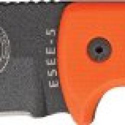 Esee 5Por Black Powder Coated Fixed Blade Knife W/ Bright Orange G-10 Handle