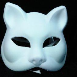 Half Face Plastic White Cat Designed Venetion Cosplay Mask
