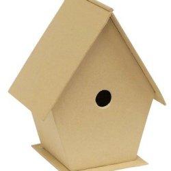 Chenille Kraft Papier Mache Birdhouse - 4 X 3 1/2 X 6 - Each