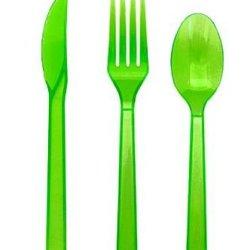 Neon Green Plastic Cutlery Set Fork Spoon Knives - 48Pc Set