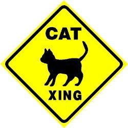 Cat Xing Crossing Sign * Street Pet Animal Caution