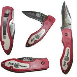 Fire Fighter Pocket Knife Red Stainless Steel Hard Acrylic Housing Sharp Fully Functional New Trademark
