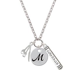 Fork Knife And Spoon Script Initial Disc - M - Courage Strength Wisdom Zoe Necklace