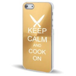 Apple Iphone 5 5S Gold 5C139 Aluminum Plated Hard Back Case Cover Keep Calm And Cook On Chef Knives
