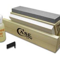 Case Xx Arkansas Stone Tri-Hone Sharpening Kit With Honing Oil For Pocket Knives