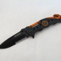 Reel Steel Emt Black & Orange Glass Breaker Folder Pocket Knife *** Plus A Free Gift Cell Phone Anti-Dust Plug ***