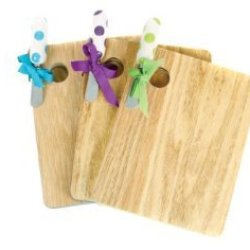 Wooden Cheese Boards With Decorative Cheese Knife Spreader (Green Knife)