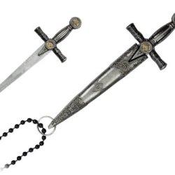 "3.5"" Overall Mason Sword Design Letter Opener Necklace Knife"