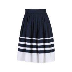 Eshakti Women'S Colorblock Stripe Poplin Skirt S-6 Regular Navy/White