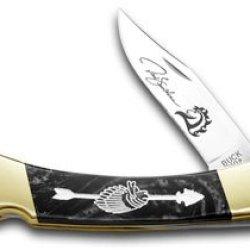 Buck 110 Yellowhorse Custom Black Pearl Corelon Chief Arrowhead 1/100 Knife