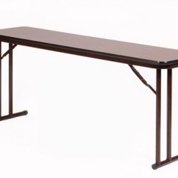 "Correll St1896Px 01 High Pressure Laminate Classroom, Training And Seminar Off Set Leg Folding Table, Rectangular, 18"" Width X 96"" Length, Seats 4, Walnut"