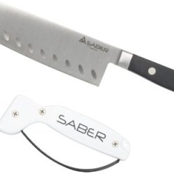 Saber Knives Kitchen Utility Bundle With Accusharp Style Sharpener (7-Inch Santoku Knife)