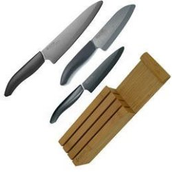 Kyocera Knife Set With Bamboo Block - 3 Piece
