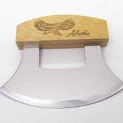 Inupiat Alaskan Cutlery Ulu Knife Honey Wood Etched Eagle Fly Design