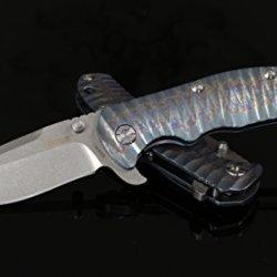 "Kizer Cutlery Ki401X1 Folding Knife 3-1/2"" S35Vn Stonewash Blade, Titanium Handles"