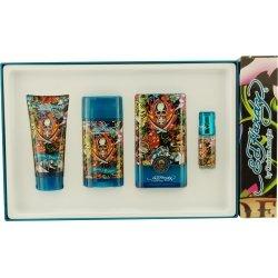 Ed Hardy Hearts & Daggers By Christian Audigier Gift Set For Men: Edt Spray 3.4 Oz & Deodorant Stick Alcohol Free 2.75 Oz & Hair And Body Wash 3 Oz & Edt Spray .25 Oz Mini