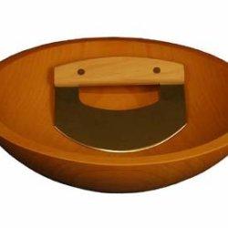 "Wooden Chopping Bowl 12"" & Mezzaluna Knife Set - Oiled Finish"