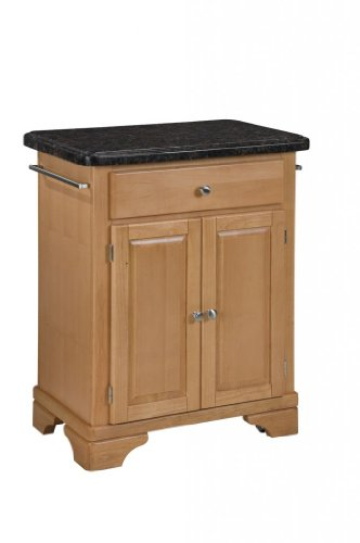 Image of Kitchen Cart with Salmon Granite Top in Maple Finish (VF_HY-9003-0095)