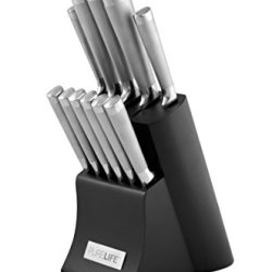 Purelife Ragalta Plks 2200 Series 12-Piece Forged High Carbon Stainless Steel Cutlery Set With Block, Black