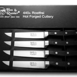Hen & Rooster And International 4 Piece Black Synthetic Kitchen Knife Set