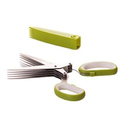 Select Culinary 5-Blade Herb Scissors - Stainless Steel Multi Blade Shears, Herb Cutter