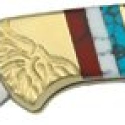 Brian Yellowhorse Knives 103 Custom Buck Model 112 Folding Ranger Lockback Knife With Custom Black Jett, Blue Turquoise, And Red & White Quartz