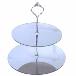 Two Tier Mirrored Round Cake Stand