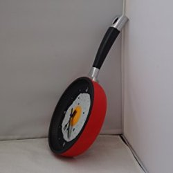 Frying Fry Pan Egg Omelet Modern Design Wall Clock Home Decor (Red)