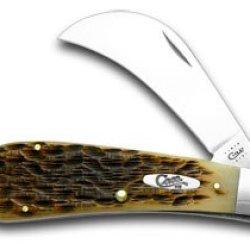 Case Xx Amber Jigged Bone Hawkbill Pruner Pocket Knife Knives