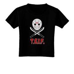 Scary Mask With Machete - Tgif Toddler T-Shirt Dark Black - 2T