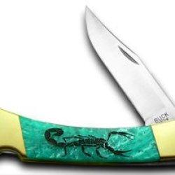 Buck 110 Custom Turquoise Mist Corelon Scorpion 1/400 Pocket Knives