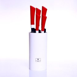 Imperial Collection Switzerland 5 Piece Stainless Steel Knife Set With Stand (Red)
